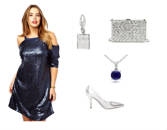 "Left: Sequined dress, $57, ASOS. Center: Sterling silver ""Spells"" charm, $22, Nestlearning. Right, top to bottom: Sequined clutch, $35, Lulu's. Blue sapphire necklace, $23, Overstock.com. Silver heels, $49, 6PM."