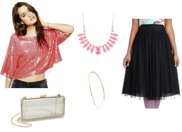Left, top to bottom: Sequin crop top, $179, ASOS. Transparent clutch, $33, Nordstrom. Center, top to bottom: Necklace, $11, and crystal headband, $13, Claire's. Right: Tulle skirt, $65, Modcloth.