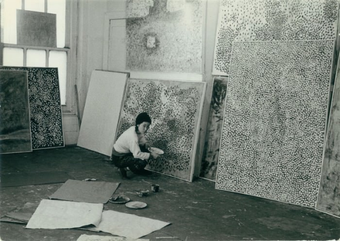 Yayoi Kusama in her New York studio, c. 1958, via Fireplace Chats.