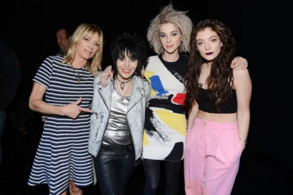 From left to right: Kim Gordon, Joan Jett, St. Vincent, and Lorde, who each stood in for Kurt Cobain. Photo by Getty Images via Stereogum.