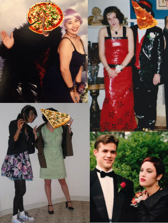Rookie staff pizza prom, clockwise from top left: Me in my purple space-age dress, lavender wig, spiked collar, and doll-head corsage;  Maggie Thrash in an actual DUCT-TAPE DRESS; Jane Marie sporting a homemade black-brocade dress and bolero, a velvet choker, and bangs dyed to match her corsage; Shriya in a $25 floral sundress with tulle sewn underneath, her mom's blazer, and a pair of holographic Nikes.