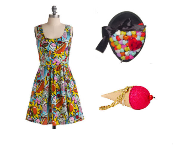 Left: dress, $70, ModCloth. Top right: fascinator, $28.50, Odd Cookie Couture. Bottom right: ice cream purse, $68, Betsey Johnson.