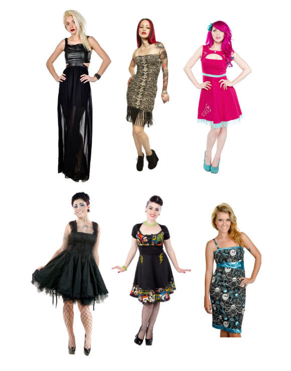 Clockwise from top left: maxi dress, $40, Too Fast; fringe dress, $36, Sourpuss Clothing; pencil dress, $56, Sourpuss Clothing; monster dress, $82, Sourpuss Clothing; tulle dress, $56, Too Fast.