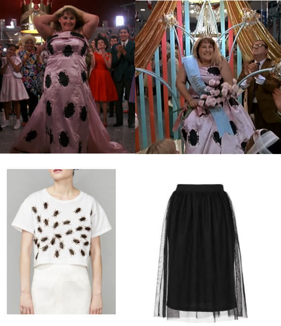 Top: Ricki Lake as Tracy Turnblad in Hairspray (1988). Bottom left: crop tee, $88, Toy Syndrome. Bottom right: tulle skirt, $35, Topshop.