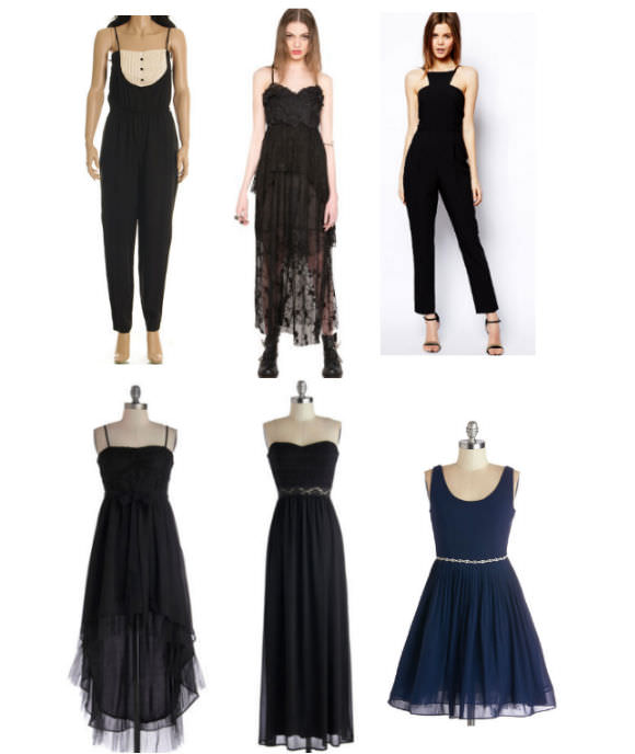 Clockwise from top left: tuxedo jumpsuit, $98, Etsy; lace tier dress, $133, Pixie Market; racer-front jumpsuit, $85, ASOS; short blue dress, $103, ModCloth; strapless dress, $63, ModCloth; high-low dress, $83, ModCloth.
