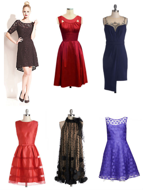 Clockwise from top left: lace dress, $110, Betsey Johnson; red dress, $163, Trashy Diva; embellished dress, $103, ModCloth; purple dress, $168, Betsey Johnson; fluffy dress, $138, ModCloth; orange dress, $103, ModCloth.