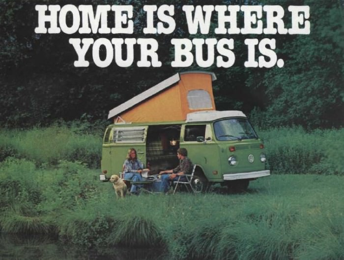 Portion of a 1978 VW Campmobile Bus ad, via Vintage Ad  Browser.
