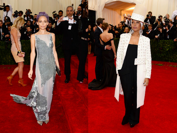 Nicole Richie, left, and Erykah Badu, right, at the Met Ball. Photos via Style.com.