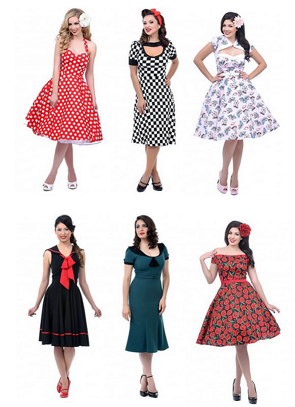Clockwise from top left: polka-dotted dress, $80 Unique Vintage; checkered dress, $60, Unique Vintage; swing dress, $80, Unique Vintage; flowered dress, $76, Unique Vintage; green dress, $158, Unique Vintage; bow dress, $94, Unique Vintage.