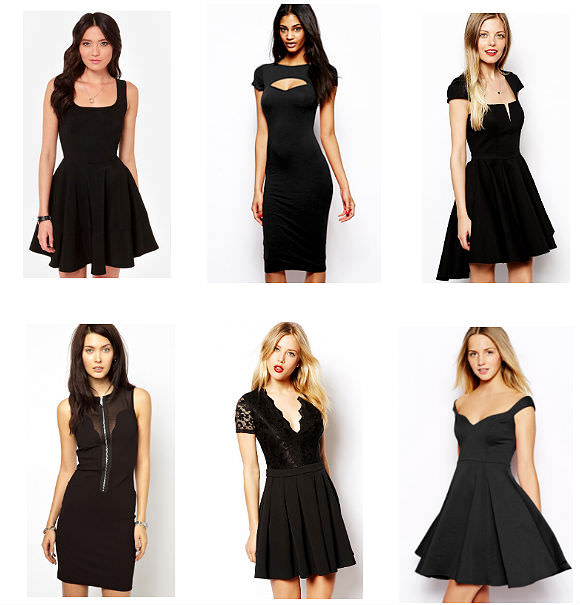 Clockwise from top left: fitted skater dress, $42, LuLu*s; cut-out dress, $38, ASOS; high-low skater dress, $105, ASOS; sweetheart skater dress, $61, ASOS; lace skater dress, $72.50, ASOS; zip-front dress, $228.50, ASOS.