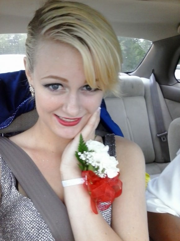 Clare on the way to the prom she was kicked out of. Photo via Wine & Marble.