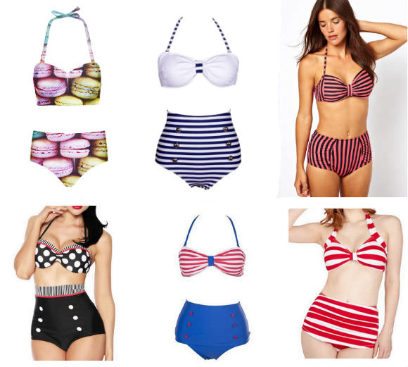 Top row, from left: macaron-print Bikini, $33, Romwe; striped Bikini, $23, Romwe; pink and black bikini, $40, ASOS. Bottom row, from left: polka-dot swimsuit, $12, Rosegal; halter swimsuit, $15, Rosegal; striped swimsuit, $12, Rosegal.