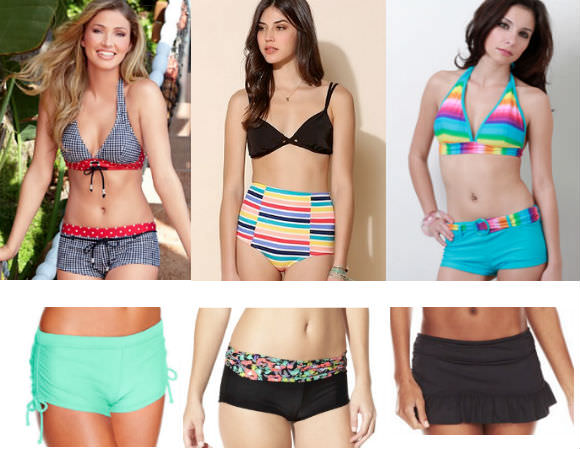 Top row, from left: boy shorts, $21, Venus; high-waisted bottom, $42, Urban Outfitters; green swim shorts, $10.50, Urban OG. Bottom row, from left: side-tie bottoms, $24, Macy's; black shorts, $15, Target; skirtini bottoms, $22, Kohl's.