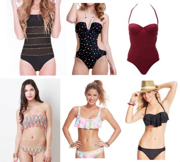 First row, from left: strapless suit, $37, GoJane; dot monokini, $18, Walmart; underwire one-piece, $27, Charlotte Russe.  Bottom row, from left: bandeau top, $18.50, Urban OG; cropped bikini top, $27, Macy's; black bikini top, $20.50, Macy's.