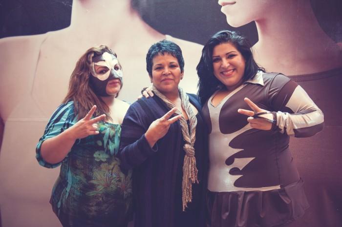Left to right: Muñeca de Plata; the sisters' mother, Rosa Isela Nava Carillo; and Gloria Alvarado Nava.