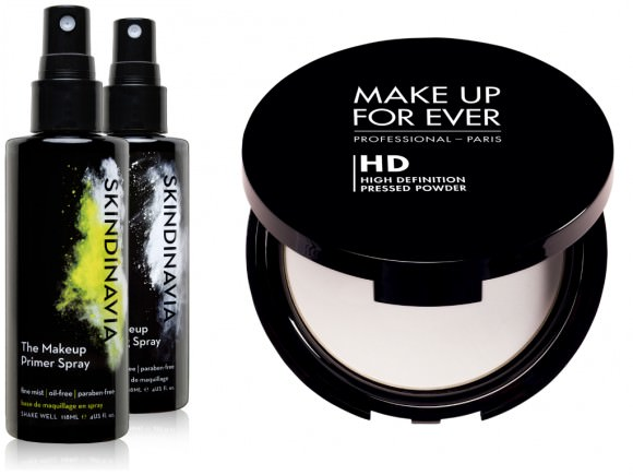 From right to left: prepping spray, $, Skindinavia; Make Up For Ever finishing powder, $, Sephora.
