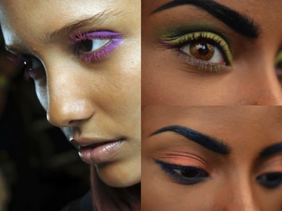 Left: A look from Donna Karan's spring 2013 collection; top right: Green mascara on just my bottom lashes; bottom right: Blue mascara on my top and bottom lashes.