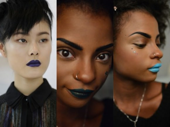 Left: A blue-lip look from Ann Yee's fall 2014 show via Huffington Post; center and right: My interpretations.