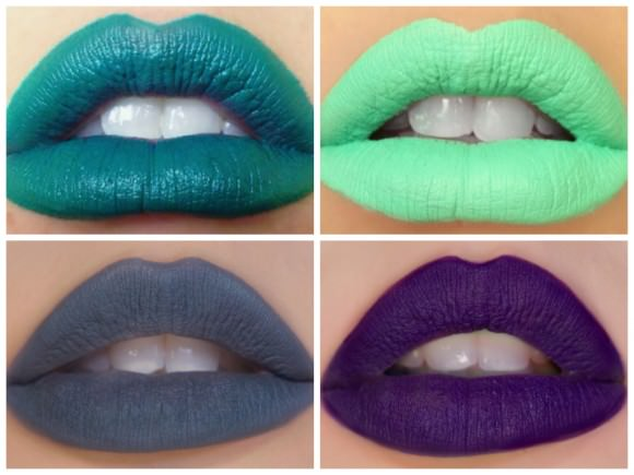"Top, left to right: Impulse opaque matte lipsticks in ""Lobotomy"" and ""Circus,"" $7 each; bottom, left to right: Melt opaque matte lipsticks in ""Space Cake"" and ""By Starlight,"" $19 each."