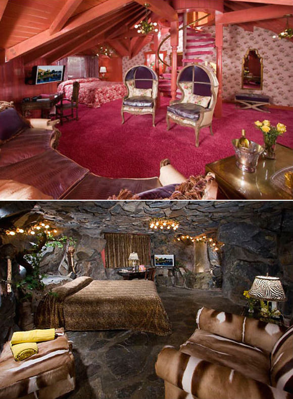 Two of the inn's rooms. Above: the Love Nest. Below: the Caveman Room.