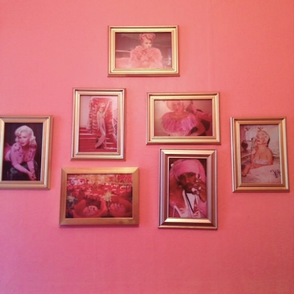 My Madonna Inn–inspired bathroom. Yes, that is Cam'ron next to Jayne Mansfield and Dolly Parton, if you're wondering.