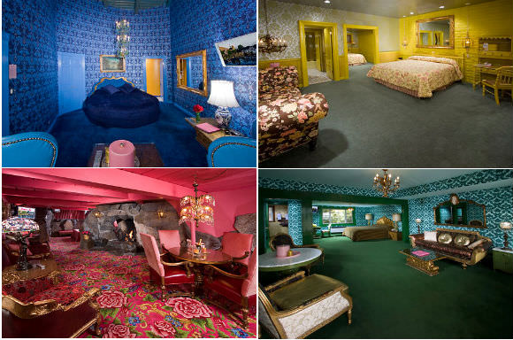 Clockwise from top left: Vous, Canary Cottage, Irish Hills, and the Madonna Inn Suite. Photos via Madonna Inn.