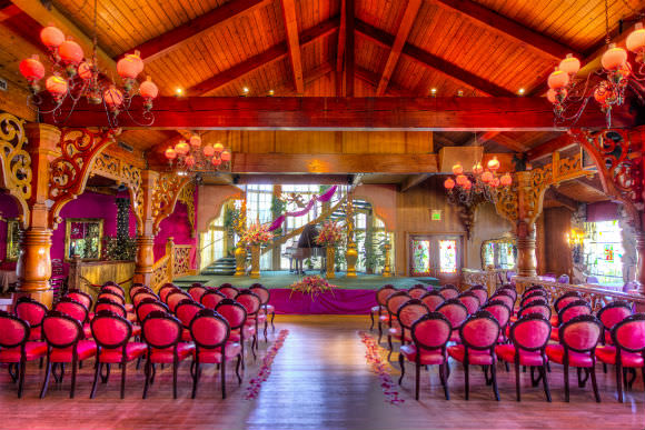 What a wedding would look like at the Madonna Inn! Look at those pink chairs! Photo  via Madonna Inn.