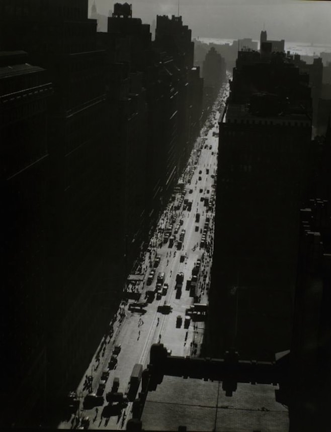 """Seventh Avenue Looking South From 35th Street in Manhattan,"" Berenice Abbott, 1935. Via the New York Public Library."