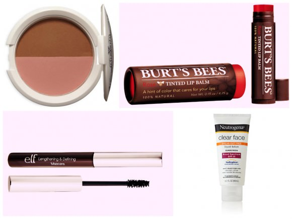 Clockwise from top left: Bronzer & Blusher Combo, $9; NYX; Tinted Lip Balm, $7, Burt's Bees; Clear Face Liquid Lotion Sunscreen , $10. Neutrogena; Essential Lengthening & Defining Mascara, $1,  e.l.f.