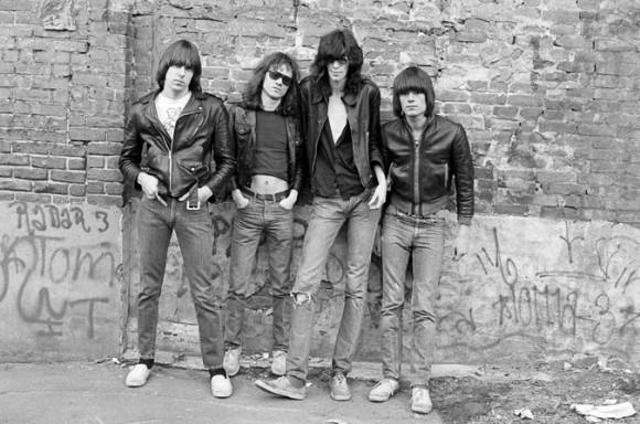 Tommy Ramone, second from left, with his band (from left: Johnny, Joey, and Dee Dee) in 1976. Photo by Roberta Bayley via The New York Times.