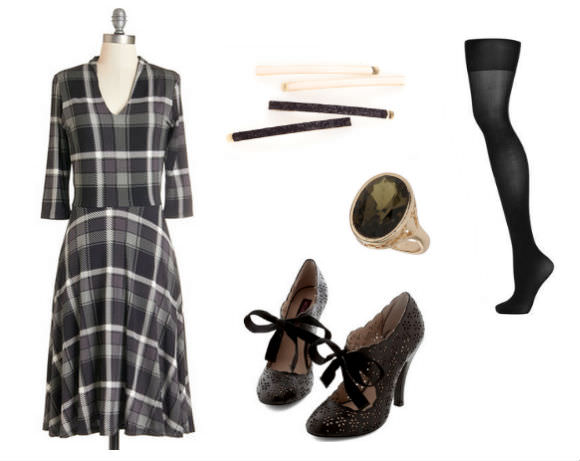 Far left: plaid dress, $150, ModCloth. Center, top to bottom: bobby pins, $10, ban.dō; ring, $18, Topshop; heels, $80, ModCloth. Far right: tights, $8, Topshop.