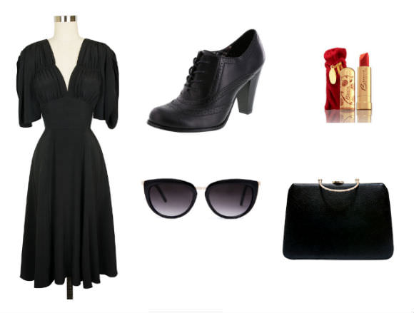 "Clockwise from left: dress, $176, Trashy Diva; shoes, $40, Payless Shoesource; Besame Classic Lipstick in ""Cherry Red,"" $24, Trashy Diva; handbag, $56, Trashy Diva; sunglasses, $34.50, ASOS."