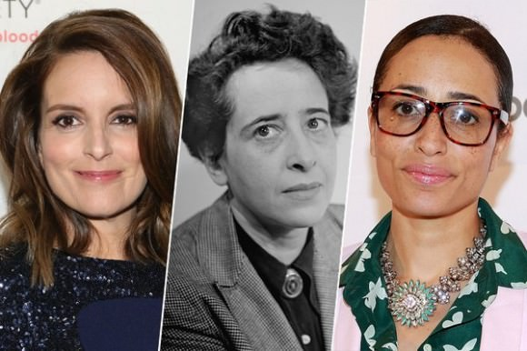 From left to right: Tina Fey, Hannah Arendt, and Zadie Smith in photos by Monica Schipper/Getty Images, Fred Stein Archive/Getty Images, Robin Marchant/Getty Images via The Cut.