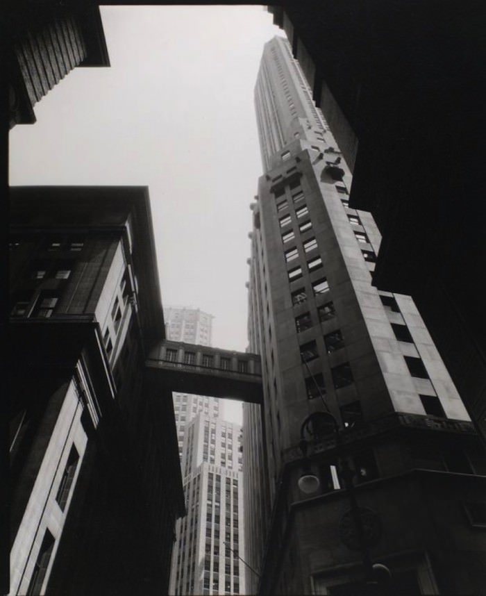 """Stone and William Street, Manhattan"" by Berenice Abbott, 1936. Via the New York Public Library."