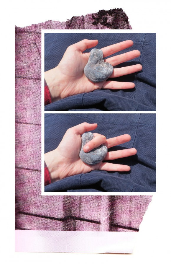 "Caitlin on today's visual diary: ""This week I went on holiday to the seaside. I was ill the whole time, and it was bad. But then one day I was walking, exhausted, along a stone beach, and I sat down on the rocks to rest and saw this one stone that just fit in my palm perfectly, with a little slot for my finger, and I was like, 'Oh, all right, things can sometimes come together just fine,' and I knew that I would be OK."""