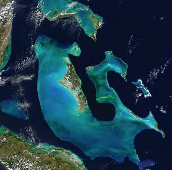 Aerial photo of The Bahamas by NASA via NewScientist.