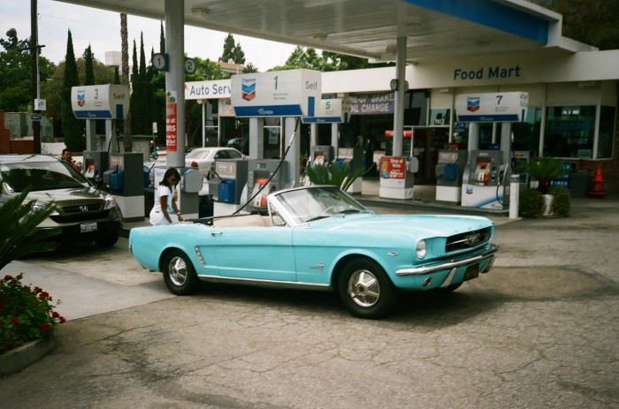 My dream car, a turquoise convertible.