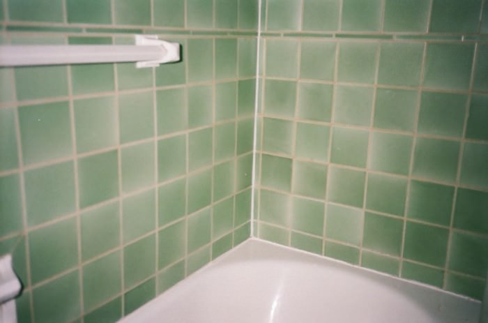 Seafoam tile in Tara's bathroom.