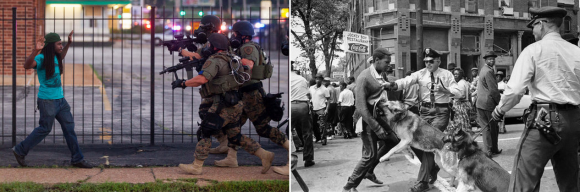Left,  photo of a protestor in Ferguson by Whitney Curtis for The New York Times; right, photo of Birmingham, Alabama in 1963 by Bill Hudson/Associated Press via the New York Times.