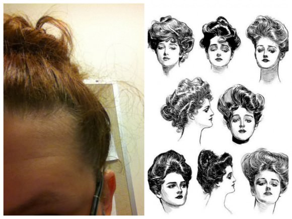 Right: The photo xx sent in of her hair. Left: Drawings depicting Gibson's famous ladies.