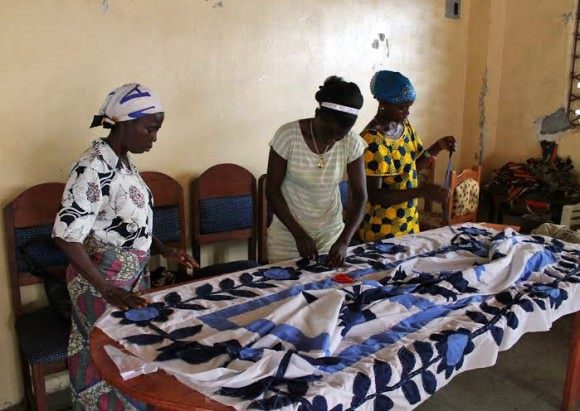 Photo of a Liberian quilting guild by Stephanie Beck Cohen via