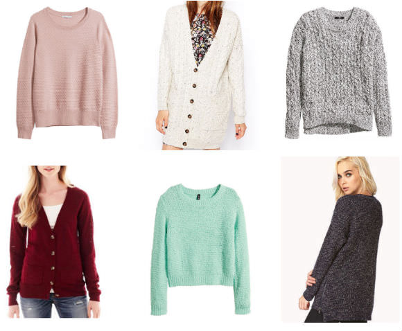 Clockwise from top left: cashmere sweater, $70, H&M; acrylic cardigan, $62, ASOS; cotton and acrylic sweater, $30, H&M; wool and acrylic sweater, $28, Forever 21; acrylic and polyester sweater, $25, H&M; cotton cardigan, $20, JCPenney.