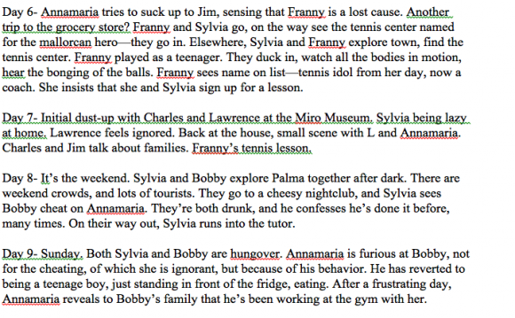 My original outline for The Vacationers, from XX time.