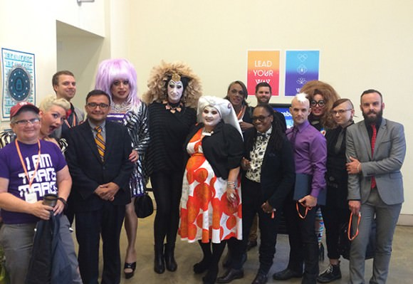 Photo of drag queens in the Menlo Park Facebook offices by Tom Temprano via SFist.
