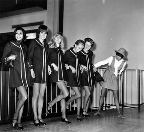 Photo of Mary Quant, far right, and models via Photobucket. Original source unknown.
