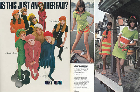 Mary Quant print advertisements via Louvintage. Original sources unknown.