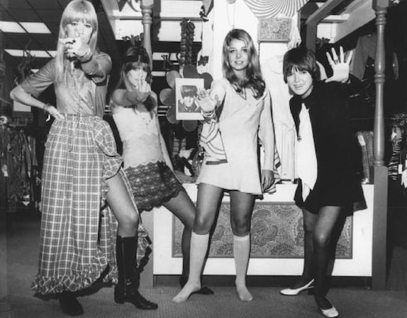 Mary, far right, with models wearing her designs in 1968. Photo by AP/Wide World Photos via Fashion Encyclopedia.