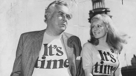 Photo of Gough Whitlam with the singer Little Pattie in 1972 by Graeme Fletcher/Getty Images via The Guardian.