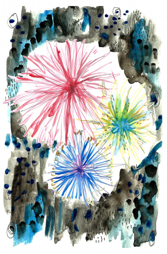 Caitlin drew this entry whilst watching fireworks from her window this week.