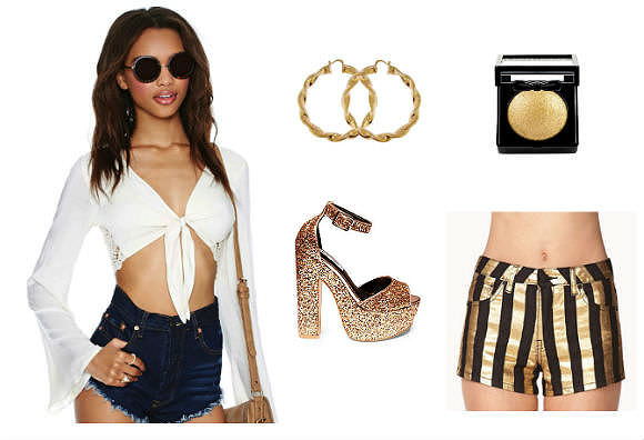 Clockwise from left: crop top, $24, Nasty Gal; earrings, $7, GirlPROPS; NYX Cosmetics Baked Eyeshadow in Ghetto Gold, $6, ULTA; shorts, $11, Forever 21; glitter heels, $100, Steve Madden.